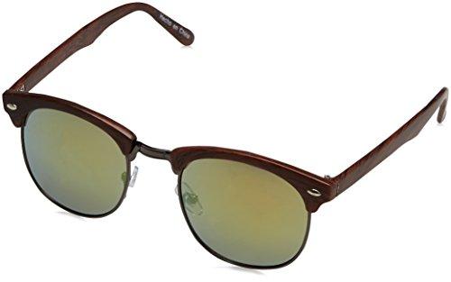 Desconocido Herren Gafa Retro Wood Sonnenbrille, Braun (Black 1), XS