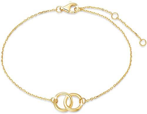 FANCIME Pulsera de Infinito de Oro Amarillo Macizo de 14 Quilates (585) Básica Minimalista Genuina joyería para Damas Mujer Niñas - Longitud Cadena: 15 + 3 cm