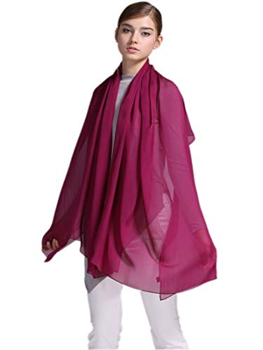 prettystern Damen XXL Seiden-Tuch Chiffon-Schal einfarbig Stola Unifarbe Sarong Pareo Schulter-Tuch Rosen Lila A01