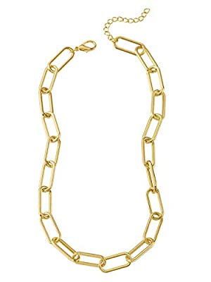 Reoxvo Gold Link Chain Necklace for Women Rectangle Chain Necklace