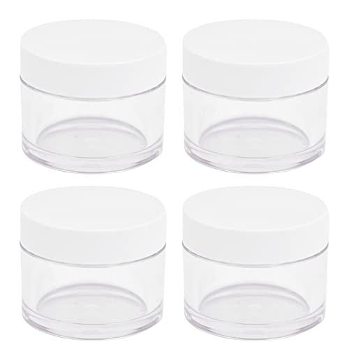 4pcs Cosmétiques 30g Pots Rechargeables Contenants de Lotion Crème Transparente avec Couvercles à Bouche Large et Amovibles pour Séparer les Cosmétiques Crèmes pour le Visage Crèmes pour les Yeux Mudp