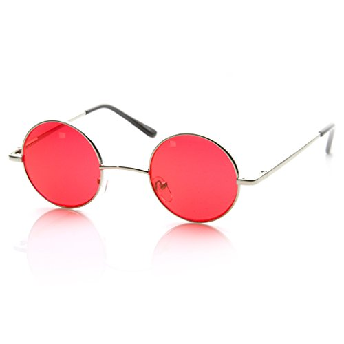 MLC EYEWEAR Small Metal Round Circle Color Tint Lennon Style Sunglasses (Silver, Red)