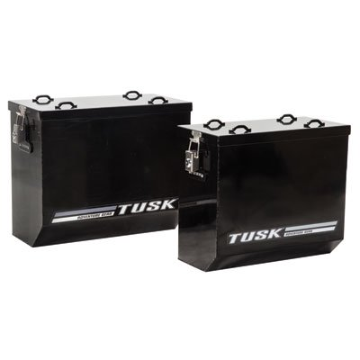 Tusk Aluminum Dual Sport Adventure Panniers - MEDIUM - Black or Silver - Includes Neck Gaiter (Black)