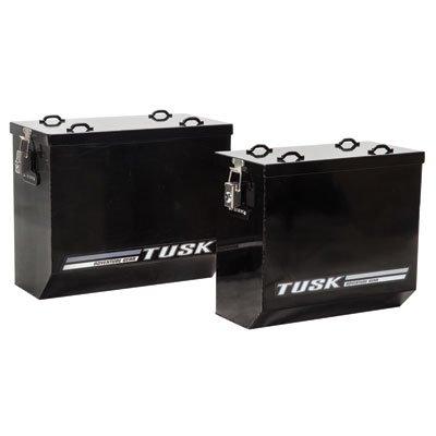 Tusk Aluminum Dual Sport Adventure Panniers - LARGE -Black or Silver - Includes Neck Gaiter (Black)