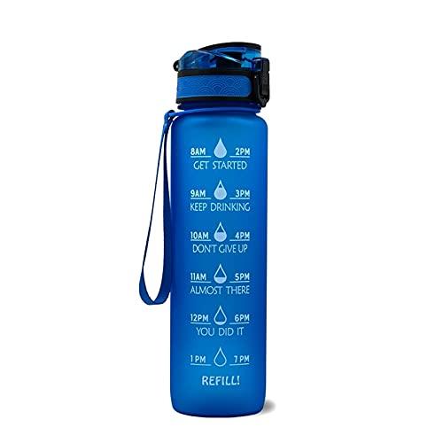 YYDMBH Botella Deportiva Botellas de Agua Potable a Prueba de Fugas de 1000ml con Marcador de Tiempo Straw Sports Gym Botellas Senderismo Camping Bebida Botella (Capacity : 1000ml, Color : Blue)
