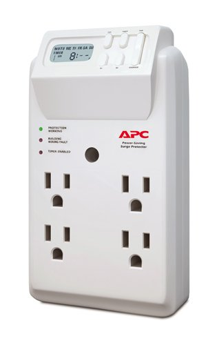 APC Wall Outlet Multi Plug Extender, P4GC, (4) AC Multi Plug Outlet, 1020 Joule Surge Protector with Timer White