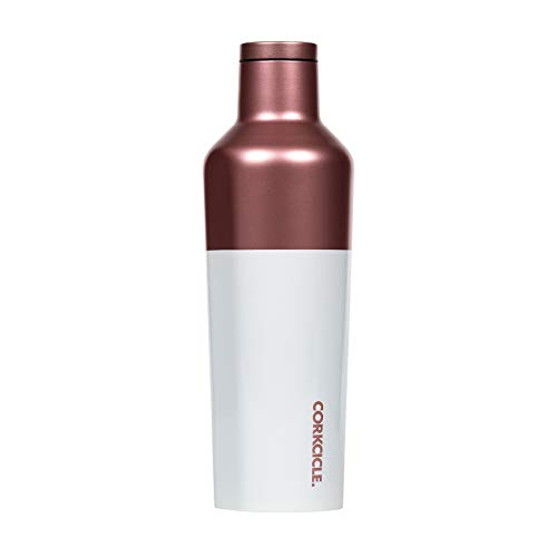 Corkcicle Canteen - Water Bottle & Thermos - Triple Insulated Stainless Steel, 16 oz, Modern Rose