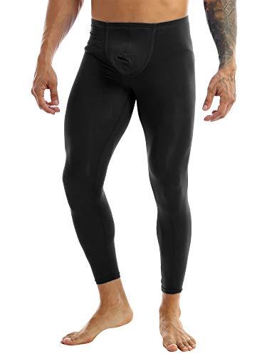MSemis Men's Sheer Semi See Through Leggings Tights Smooth Low Rise Bulge Pouch Pants Underwear Black Medium