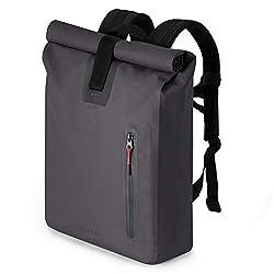 """A-LAB • Model A • Wasserdichter Fahrradrucksack • Messenger Backpack • Kurierrucksack aus robuster LKW Plane (26l) mit extra Hülle für 15"""" Laptop • Tagesrucksack in schwarz • Wasserdichter Rolltop"""
