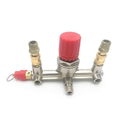COMOK Double Outlet Tube Alloy Pressure Valve Switch Air Compressor Fittings Regulator Manifold Accessories