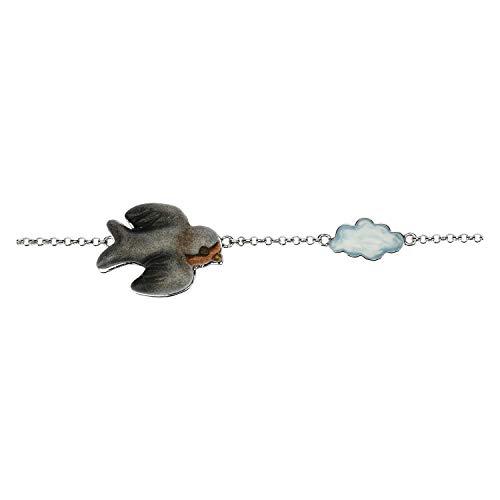 THUN ® - Bracciale Current con rondine Gaia - in Ceramica - 17 cm