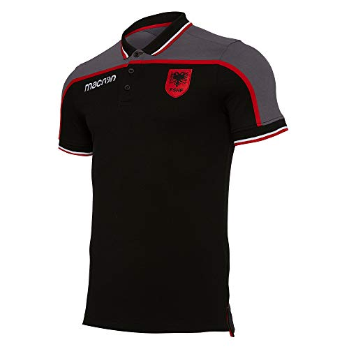 Macron 2019-2020 Albania Polo Football Soccer T-Shirt Trikot (Black)