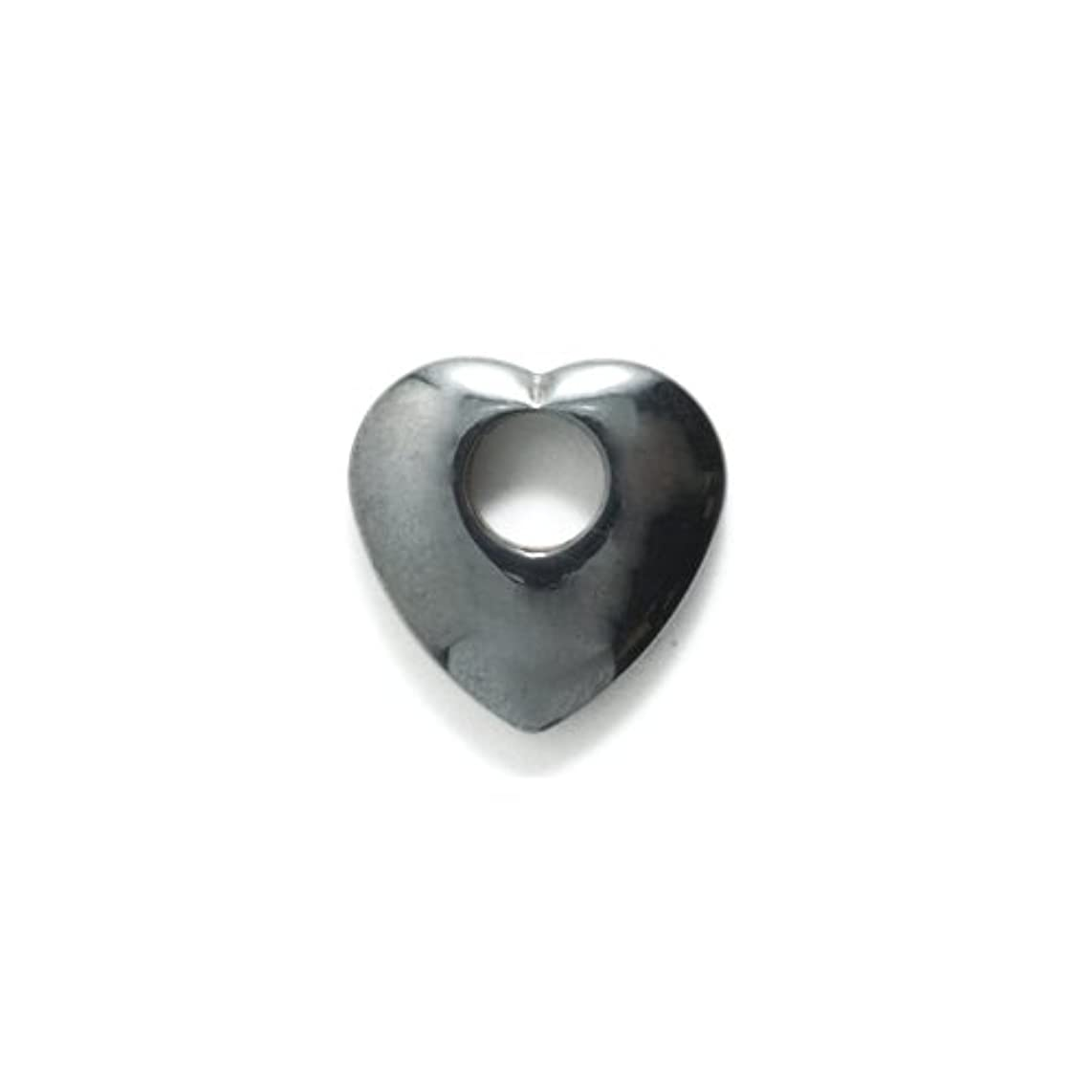 Shipwreck Beads Focal Hematite Heart with Large Hole 15-mm, 12-Pack