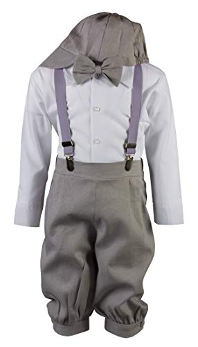 Tuxgear Boys Grey Linen Knicker Outfit with Suspenders, Lavender, 4 Toddler (Lavender, 4 Toddler)