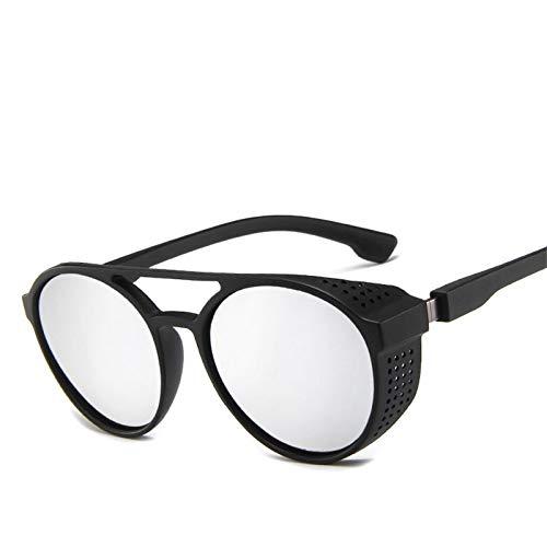 Gafas De Sol Gafas De Sol Steampunk Huecas Redondas Retro Vintage para Hombre Gafas De Sol Gafas De Sol Steam Punk Gafas Clásicas De Doble Haz De Plata
