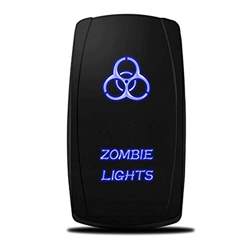 XPOXx 5Pin DC12-24V LED Barra de luz Toggle Interruptor de Rocker SPOR Off Off Off Rocker Impermeable Interruptor para camión de Barcos de Coche Estilo Carling (Color : with Blue LED Light)