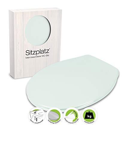 SITZPLATZ® WC-Sitz Siena in Ägäis, antibakterieller Duroplast Toilettensitz, Toilettendeckel mit Edelstahl-Scharnier, Fast-Fix Schnellbefestigung, Standard O Form universal, 21511 4