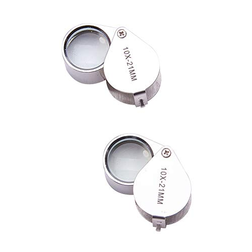 Othmro Magnifying Glass, Mini Microscope Jewelers Eye Loupe Magnifier Magnifying Glass Powerful Doublet, Chrome Plated, Round Body Jewelry Loupe, 10X/ 21 mm,Silver 2pcs