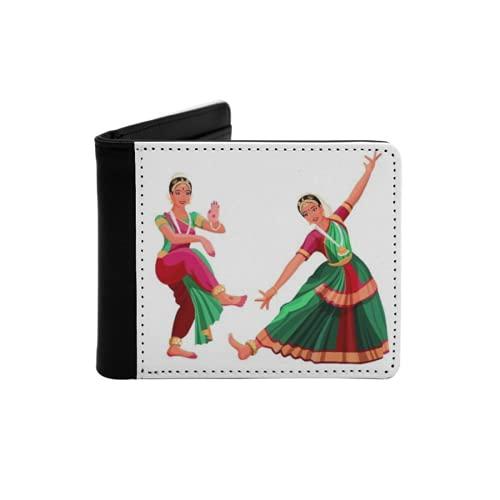 Cartera Delgada de Cuero para Hombre,Chica Mujer Bailarina en el Baile Nacional Indio Bharatanatyam Cultura de Danza folclórica,Cartera Minimalista con Bolsillo Frontal Plegable