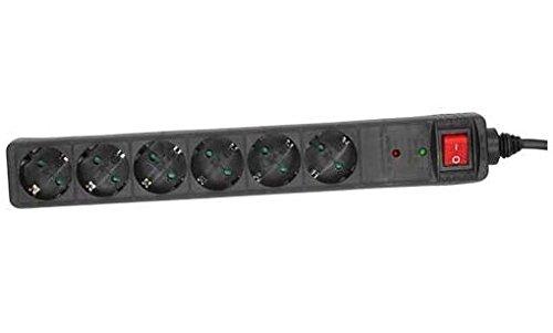 InLine 16461P Steckdosenleiste, 6-fach Schutzkontakt, mit Überspannungsschutz, mit Schalter, 1,5m, schwarz