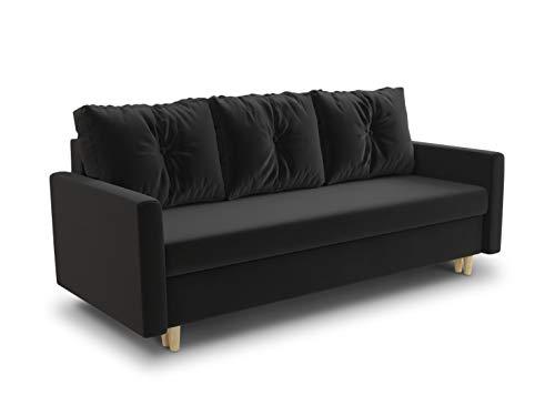 Schlafsofa Rico - Couch mit Schlaffunktion Sofa mit Bettkasten Bettfunktion Bettsofa Skandinavisch Polstergarnitur Bonell-Ferderkern Velours (Schwarz...