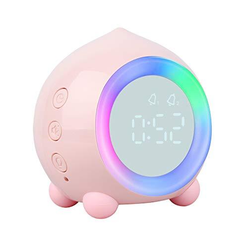 ZhaoCo Reloj Despertador Infantil, Reloj Despertador para Niños y Niñas con Wake-up Light, Luz de Alarma LED y Luz Nocturna, Reloj Despertador Silencioso sin Tictac - Rosa