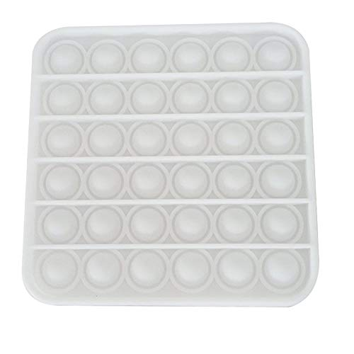 MiaoKa Push Pop Bubble Fidget Sensory Toy, Special Stress Relief Bubble Toy (Square/White)
