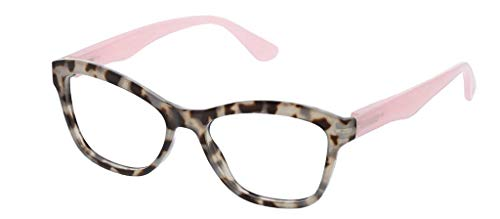 Peepers by PeeperSpecs Women's Pebble Cove Cat-Eye Reading Glasses, Gray Tortoise/Pink, 53 mm + 1.5