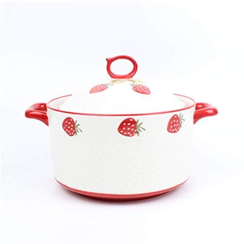 GYCS 23cm Keramik Cartoon Erdbeer Pot Multifunktionaler Auflauf Slow Cooker Doppelohr Anti-Verbrühungsgriff