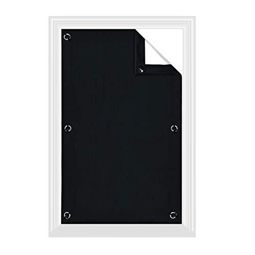 Greatime 100% Lichtundurchlässig Gardinen mit Saugnäpfen Verdunkelungsvorhang, Isolierung für Velux Dachfenster(Schwarz,76x115cm)