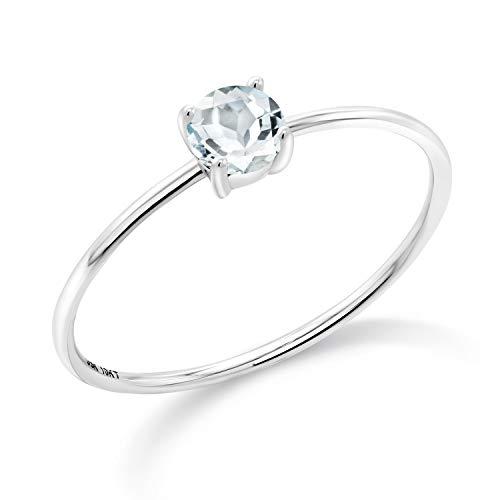Gem Stone King 10K White Gold Sky Blue Aquamarine Women Engagement Ring (0.25 Ct Round Gemstone Birthstone, Available in size 5, 6, 7, 8, 9) (0.25 Ct Gems)