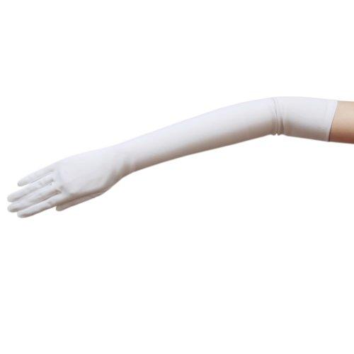 """ZaZa Bridal 19.5"""" Long Stretch Dull Matte Satin Gloves No Shine, Elegant Look-White"""