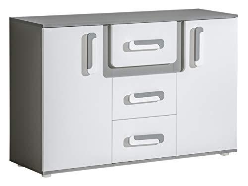 Mirjan24 Kommode Apetito AP07 mit 3 Schubladen, Sideboard, Schubladenkommode, Highboard für Jugendzimmer (Anthrazit/Weiß)