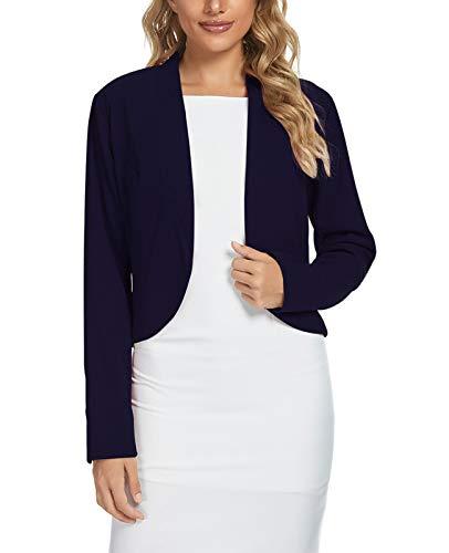 Women's Open Front Blazer Jacket Suit, Loose Fit Long Sleeve Knit Work Blazer (Navy Blue-Size S)