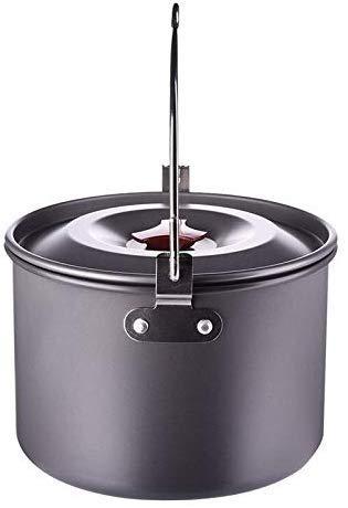 Pan, 5 l, voor kamperen, koken van potten, met deksel aan de buitenkant voor keukenspullen, picknicks, Crêson-hangers, van aluminiumlegering