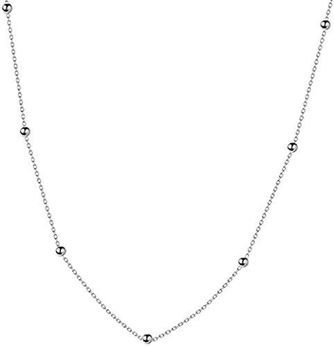 Zaaqio Collar de Cadena Cruzada, Collar Corto de Cuentas Brillantes, joyería Fina Simple para Mujer, Hermoso Accesorio de Regalo
