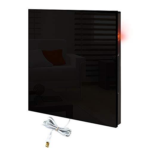 CalorSolar 342CaSol-N | Calefactor de Panel infrarrojo en Cristal para Pared, Miami Wave Black Devil de 380W 60x60cm (Negro) | Marco metálico con Cristal Templado