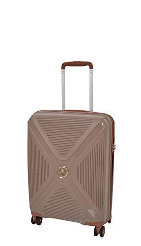 Cabin Size Hand Luggage Superb 4 Wheel Solid Hard Shell TSA Lock Suitcase Bag A480 Brown