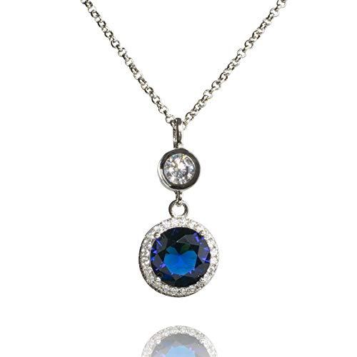 namana Halskette mit elegantem runden Anhänger in Rubinrot oder Saphirblau mit Zirkonia Stein und weiterem Schmuckstein, silberfarbene rhodinierte Halskette in Verstellbarer Länge. (Saphirblau)