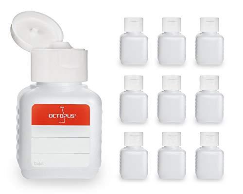 Octopus 10 x 50 ml Kunststoffflaschen, HDPE Plastikflaschen mit weißem Klappverschluss, Leerflaschen mit weißem Scharnierverschluss, Vierkantflaschen inkl. 10 Beschriftungsetiketten