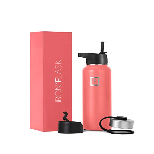 Iron Flask Sports Water Bottle - 32 Oz, 3 Lids (Straw Lid),Vacuum Insulated Stainless Steel, Modern...
