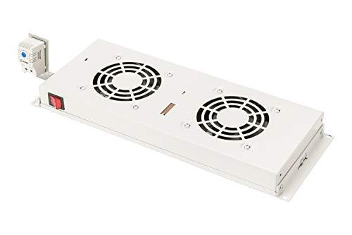 Unidad de Ventilador DIGITUS para Rack de 19' (1U), o Montaje en Techo en Armario de Red y Servidor VarioFLEX, 2X Ventilador, termostato, Negro (RAL 9005)