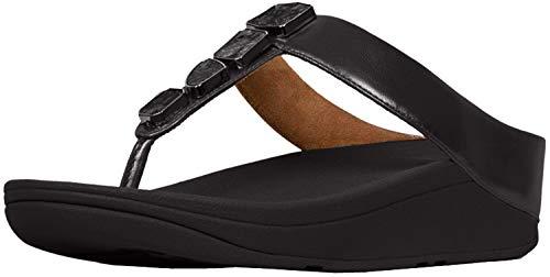 FitFlop Women's Fino Shellstone Thong Sandal Black 9 Medium US