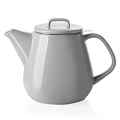 SWEEJAR Ceramic Teapot, Large Tea Pot with Stainless Steel Infuser, 40 Ounce, Blooming & Loose Leaf Teapot for Tea Lover, Gift, Family,(Gray)