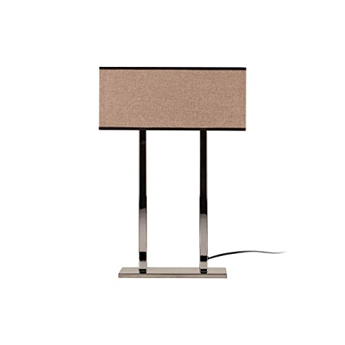 Homemania Moderne tafellamp, metaal, chroom, beige donker, 52 cm, lampenkap: 35 x 15 x 15 cm