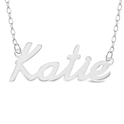 KATIE Name Necklace 925 Sterling Silver Trace Chain Pendant Gift + Pouch (16)