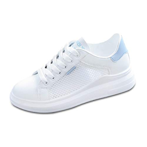 Zapatos Casuales para Mujer Zapatillas de Deporte de Malla Transpirable de Verano Punta Redonda Plataforma con Cordones Cuñas Zapatillas de Senderismo Azul Rosa