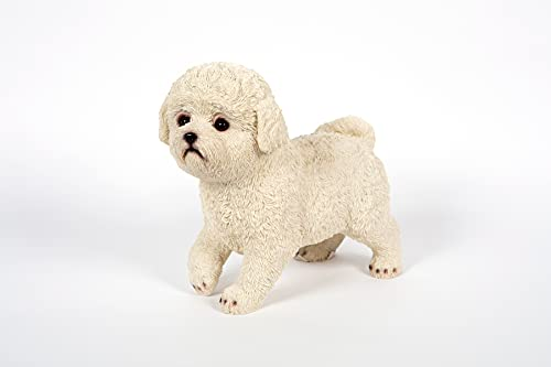 Standing Bichon Frise Dog Garden Ornament for Patio and Lawn