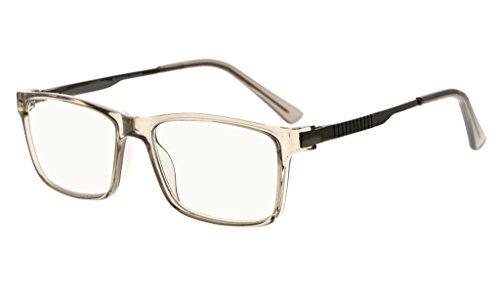 Eyekepper NoLine Bifocale Progressiva Multifocus Occhiali 3 livelli Visione Lettura Occhiali Ambrato Tinto Blocco Blu Luce (Grigio Telaio,+1.50)