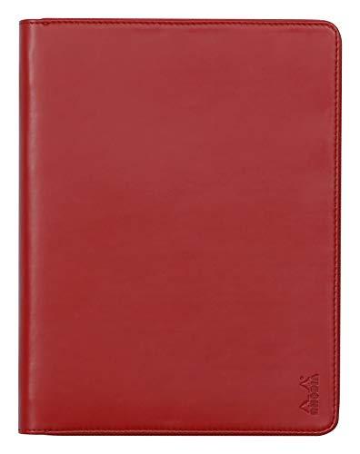 RHODIA 168106C - Carpeta portadocumentos de rodiarama amapola para bloc de notas y cuaderno A5 o A5+ | Tamaño cerrado 19,5 x 25,5 cm – Funda para tablet – Piel Premium